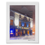 Warm Irish Pub On  A Cold Winter Night - Mini Poster
