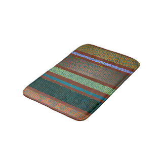 Warm Mexican Colors Stained Glass Tile Stripe Bath Mat