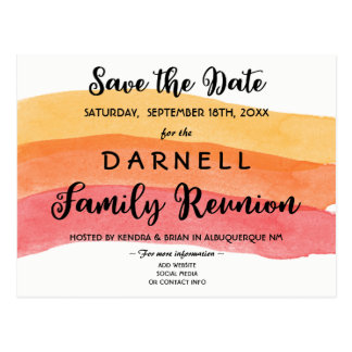 Warm Paint Brush Family Reunion Save the Date Postcard