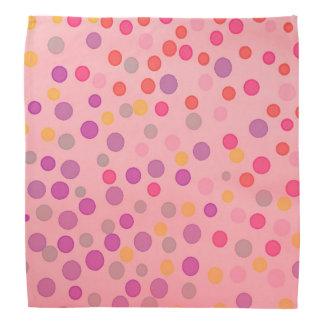 Warm pastel pink multicolor dots bandana
