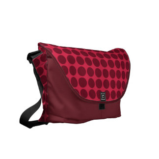 Warm polka dots amaranth and claret courier bag