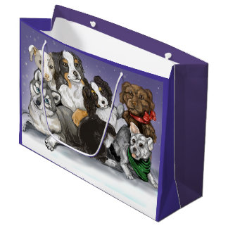 Warm Puppy Christmas Large Gift Bag