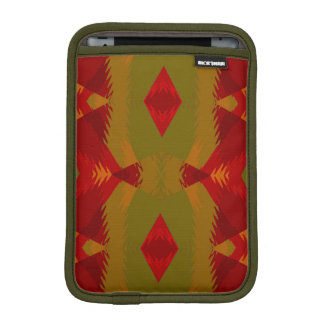 Warm Retro Pattern in Olive Gold Red iPad Mini Sleeves
