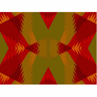 Warm Retro Pattern in Olive Gold Red Photo Sculpture Magnet