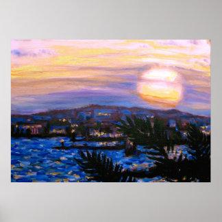Warm Seas Sunset Poster