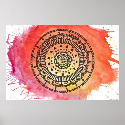 Warm Sun Mandala Poster.
