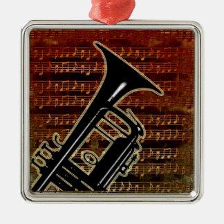Warm Tones Trumpet ID280 Silver-Colored Square Decoration