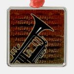 Warm Tones Trumpet Silver-Colored Square Decoration