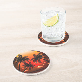 Warm Topical Sunset and Palm Trees Coasters