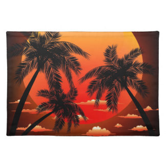 Warm Topical Sunset and Palm Trees Placemat
