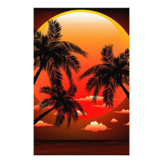 Warm Topical Sunset and Palm Trees Custom Stationery