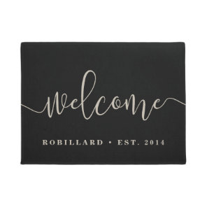 Warm Welcome | Modern Calligraphy Personalised Doormat