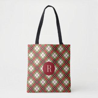 Warm Winter Plaid Monogram Tote Bag