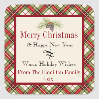 Warm Winter Plaid Personalized Holiday Square Sticker