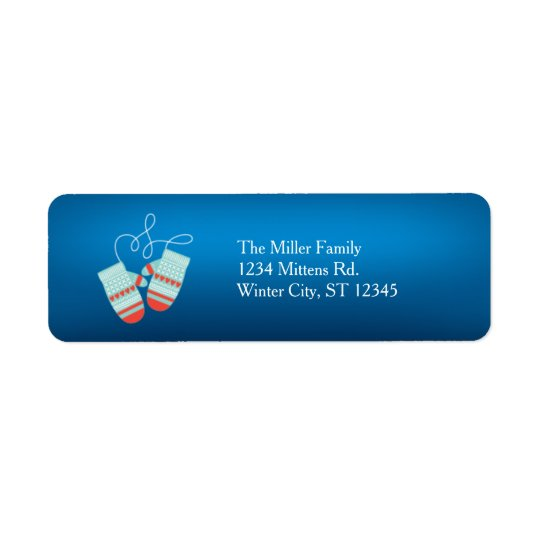 Warm Winter Wishes Mittens Holiday Label Return Address Label