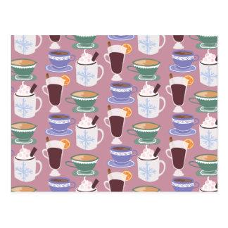 Warm Wintery Drinks Print Postcard
