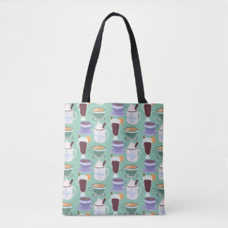Warm Wintery Drinks Print Tote Bag