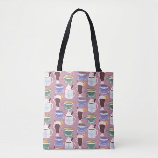 Warm Wintery Drinks Print Tote Bag