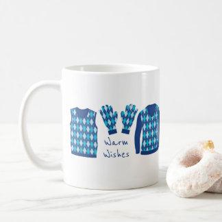 Warm Wishes Argyle Pattern Items Mug - Blue