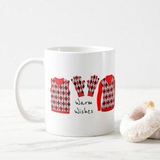 Warm Wishes Argyle Pattern Items Mug - Red