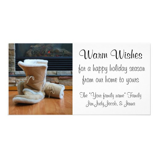 Warm Wishes - Boots by fireplace Personalized Photo Card
