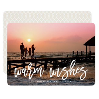 Warm Wishes Brush Lettered Holiday Photo 13 Cm X 18 Cm Invitation Card
