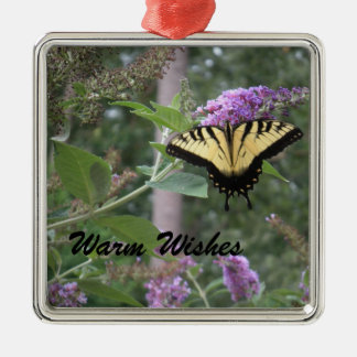 Warm Wishes Butterfly Silver-Colored Square Decoration