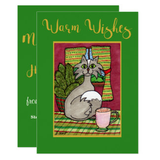 Warm Wishes Cat & Eggnog Personalized Christmas Card