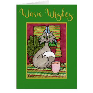 Warm Wishes Cat & Hot Eggnog Custom Christmas Card