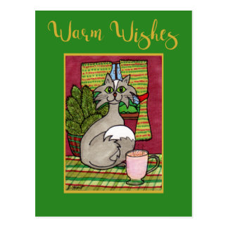 Warm Wishes Cat & Hot Eggnog Custom Christmas Postcard