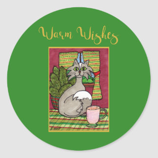 Warm Wishes Cat with Hot Eggnog Holiday Classic Round Sticker
