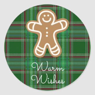Warm Wishes Gingerbread Man Plaid Classic Round Sticker