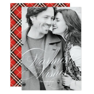 Warm Wishes in Bold Red Holiday Photo Card