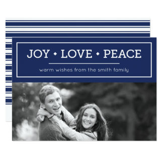 Warm Wishes Joy Love Peace Blue Holiday Photo 13 Cm X 18 Cm Invitation Card