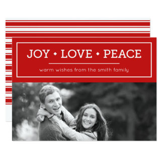 Warm Wishes Joy Love Peace Red Holiday Photo 13 Cm X 18 Cm Invitation Card