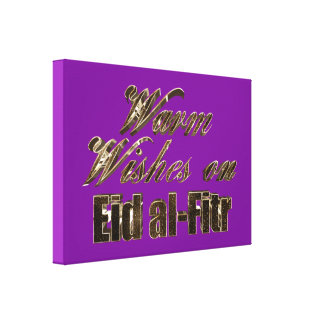 Warm Wishes on Eid al-Fitr Purple Gold Typography Canvas Print