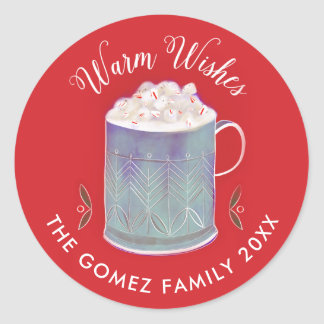 Warm Wishes Peppermint Hot Cocoa Mug Holiday Classic Round Sticker