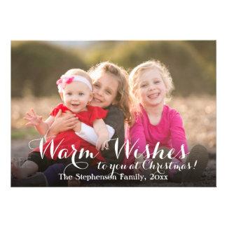 Warm Wishes Script Christmas Photo Card 13 Cm X 18 Cm Invitation Card