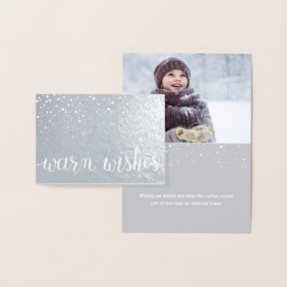 Warm Wishes Script Lettering with Snow Falling Foil Card