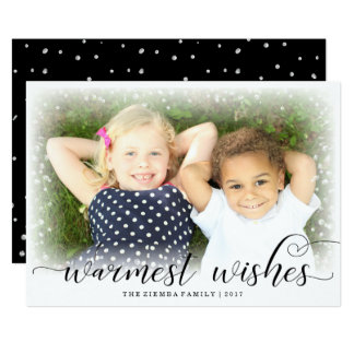 Warm Wishes Snow Christmas Holiday Photo Card