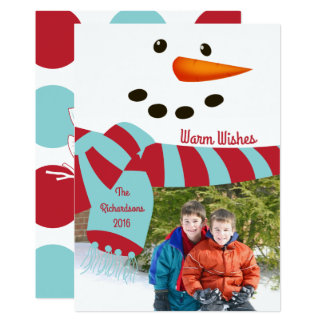 Warm Wishes, Snowman Photo Card 13 Cm X 18 Cm Invitation Card