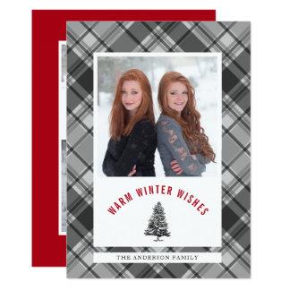 Warm Wishes Spruce Tree Plaid 3 Photo Christmas Card