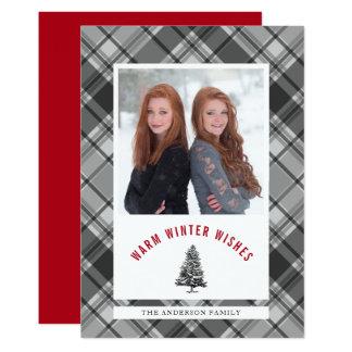 Warm Wishes Spruce Tree Plaid Photo Christmas Card
