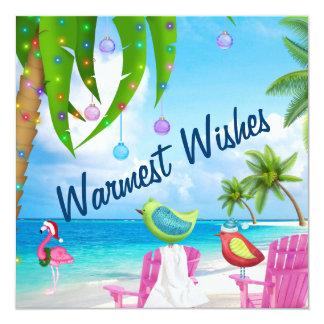 Warmest Wishes, Birds, Palm Trees, Beach Christmas 13 Cm X 13 Cm Square Invitation Card
