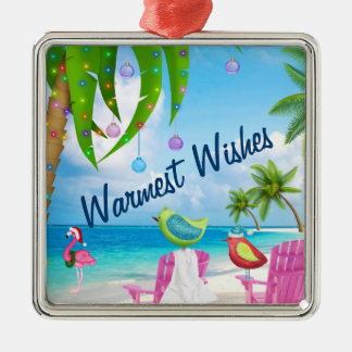 Warmest Wishes, Birds, Palm Trees, Beach Christmas Christmas Ornament