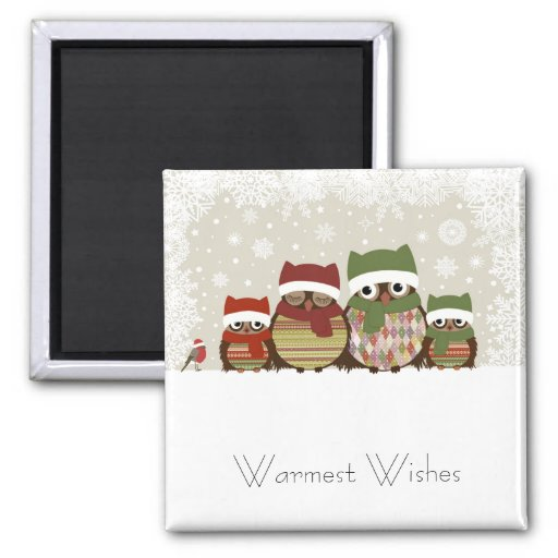 Warmest Wishes Owl Family Magnet