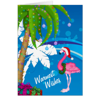 Warmest Wishes Palm Trees Flamingo Beach Christmas Card