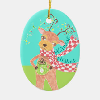 Warmest wishes reindeer Christmas ornament