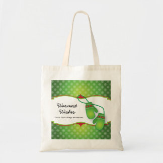 Warmest Wishes with Mitten Christmas Tote Bag