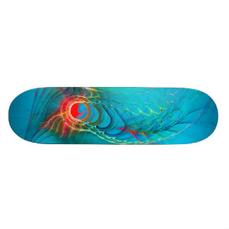 Warming Up the Blues, Digital Abstract Art Skateboard Deck